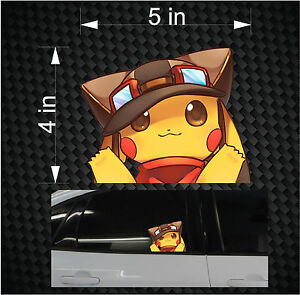 peeking pikachu pokemon go anime car window vinyl decal sticker