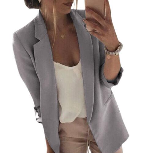 Womens Long Sleeve Slim Blazer Suit Coat Work Jacket Formal Suit Tops Plus Size