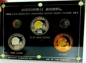 RARE-LIMITED-EDITION-1998-JACKSONVILLE-JAGUARS-MEDAL-PROOF-SET-GOLD-amp-SILVER