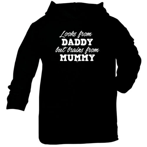 Funny Baby Infants Cotton Hoodie Hoody Looks From Daddy Brains From Mummy
