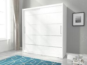 Details zu Kleiderschrank mit Schiebetüren Garderobe 200 cm Weiß BORNEO ALU