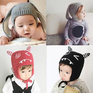 04967ba319f Baby Toddler Kid Boy Girl Hat Knit Crochet Cat Ear Beanie Autumn ...