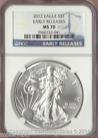 2012 1.0 oz. American Silver Eagle - NGC MS70 Early Releases