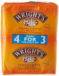 Wright's Traditional Coal Tar Soap 4 x 125g Bars