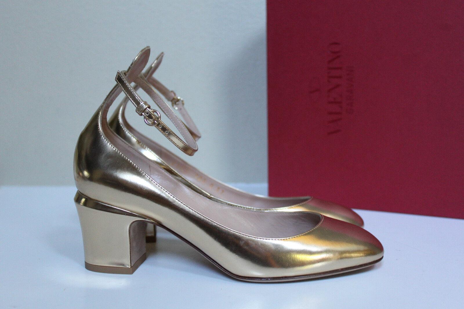 presa di fabbrica Sz 6.5   37 Valentino Valentino Valentino oro Metallic Leather Tan-Go Tango Ankle Strap Pump scarpe  produttori fornitura diretta