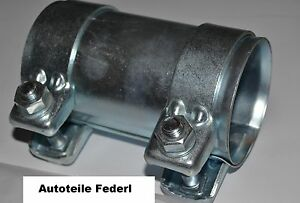 Conector de tubo de escape abrazadera doble abrazadera Ø 36 x 95 mm