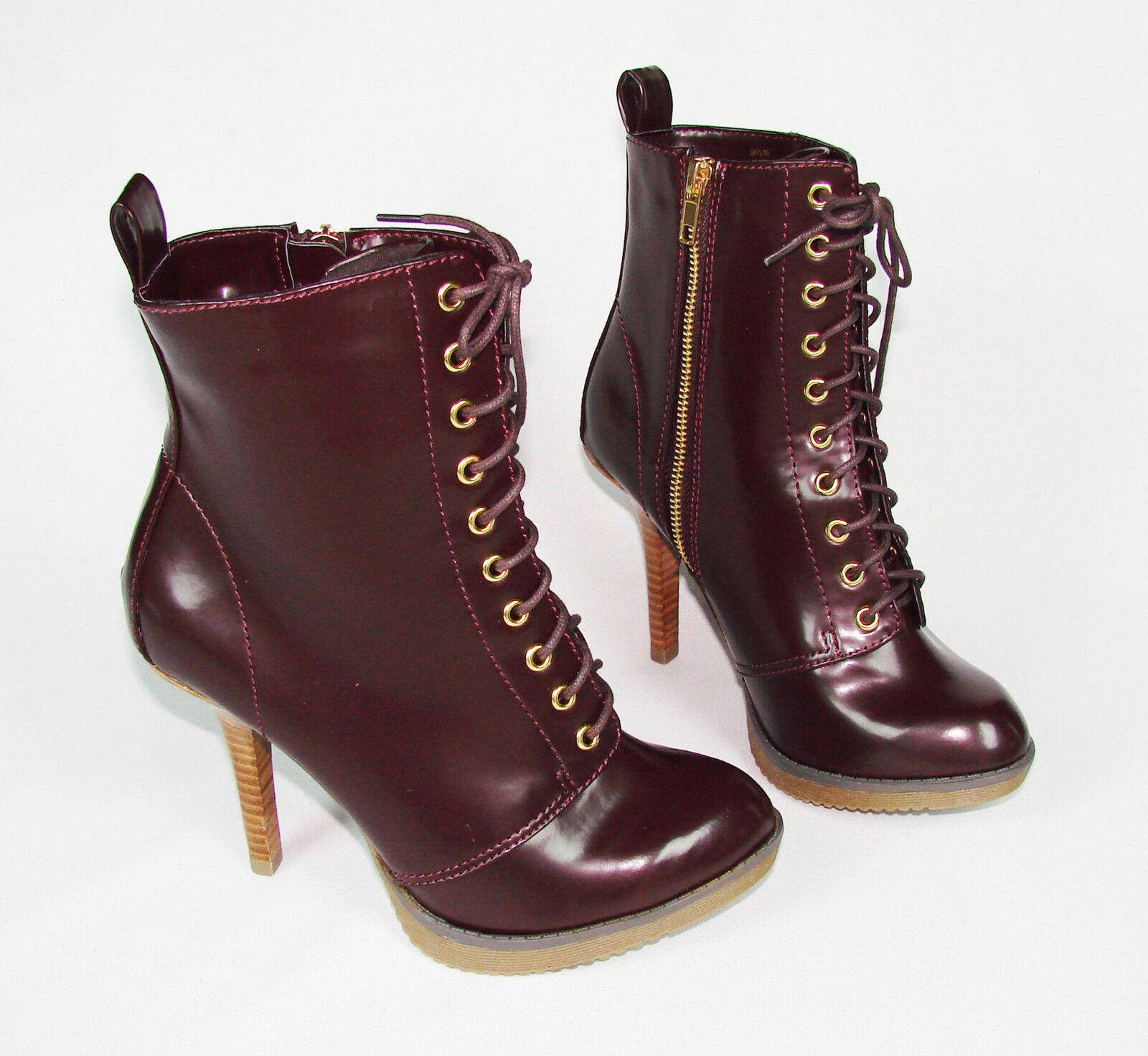 Size: 7 High Heel Combat Ankle Platform Boot Booties Zip Up Stiletto Almond Toe