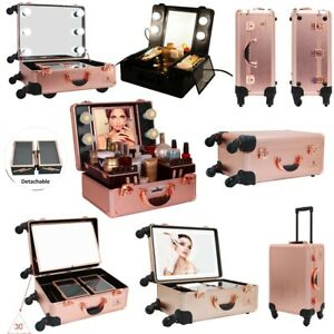 Luvodi Hollywood Cosmetic Makeup Trolley Case Led Lighted Mirror