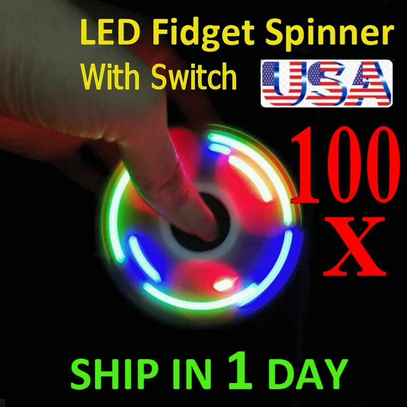 UPGRADE VERSION SWITCH CONTROL 3 MODE LED HAND SPINNER SPINNER SPINNER EDC TOY FIDGET LOT 100X 049233