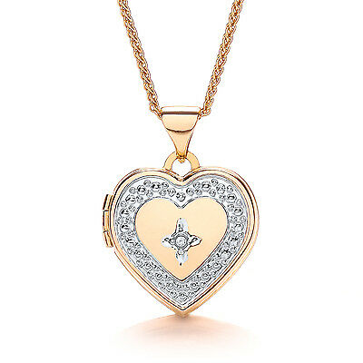 "Heart Locket Diamond Yellow Gold 18"" Chain Solid Hallmarked"
