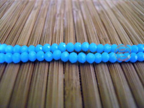 Perline Mezzi Cristalli Celeste Praline Palline Sfaccettate x Bigiotteria 4x3mm