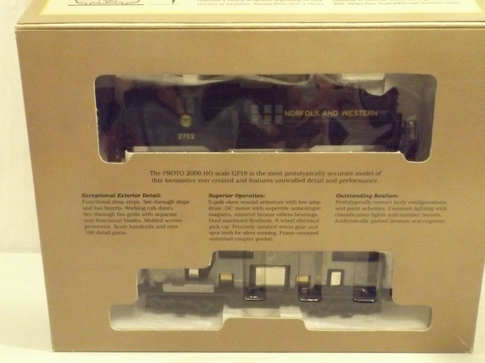 HO Proto 2000 Norfolk & Western GP18 diesel engine, in original box