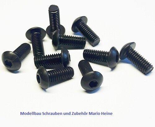 schwarz Stahl hochfest 10.9 10 Stück Linsenkopfschraube M3x8mm ISO 7380