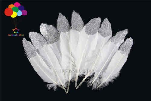 Nuevo 100 un Blanco Hermoso Silver Glitter Pluma de Ganso 15-20cm//6-8 pulgadas