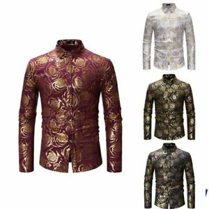 Shirt-Slim-Fit-Mens-Stylish-Dress-Shirts-Long-Sleeve-Floral-Casual-Luxury-Top