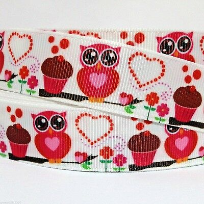 "GROSGRAIN RIBBON 7/8"" OWLS & Cupcakes VALENTINE'S DAY Printed FOR HAIRBOWS"
