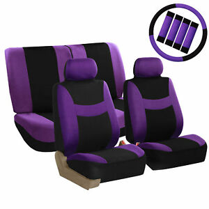 Car-Seat-Covers-Purple-Full-Set-for-Auto-w-Steering-Wheel-Belt-Pad-4Head-Rest