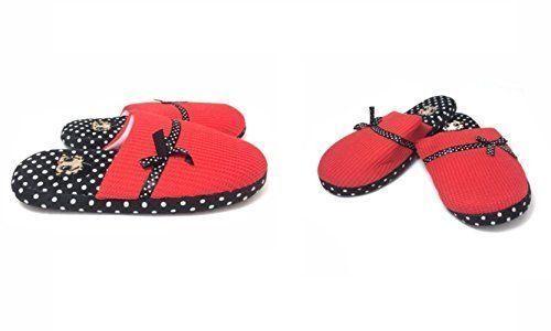 Betty Boop Slipper Ultra-Soft Women's Plush Pinup Cozy Slippers Dot Medium 7-8