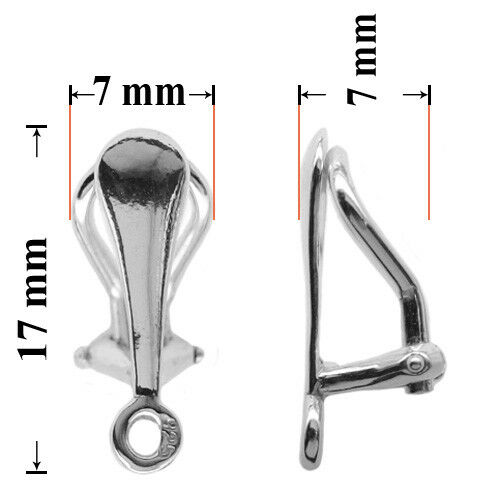 Sterling Silver Clip On Earring Findings with Loop 17x7mm for Crystals