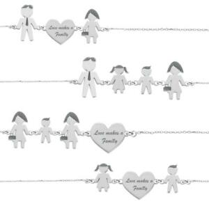 Bracciale-LOVE-MAKES-A-FAMILY-Argento-925-Lui-Lei-Bimbo-Bimba-Made-in-Italy