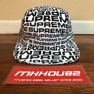 f33760bd5d04 New Supreme Repeater Camp 5-Panel Cap Hat All-Over Print White Black ...