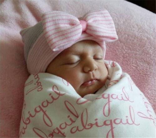 Baby Hats Girls Boy Infant Striped Soft Hat with Bow Cap Hospital Newborn Beanie