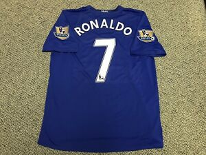 finest selection 57451 58ce4 Details about 2008 2009 Manchester United Cristiano Ronaldo Jersey Shirt  Kit XL Nike 7 Blue