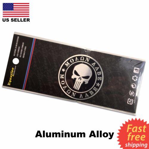 2 Pack ALUMINUM Molon Labe Dome Shape Emblem 2nd Amendment Decal Sticker Bumper