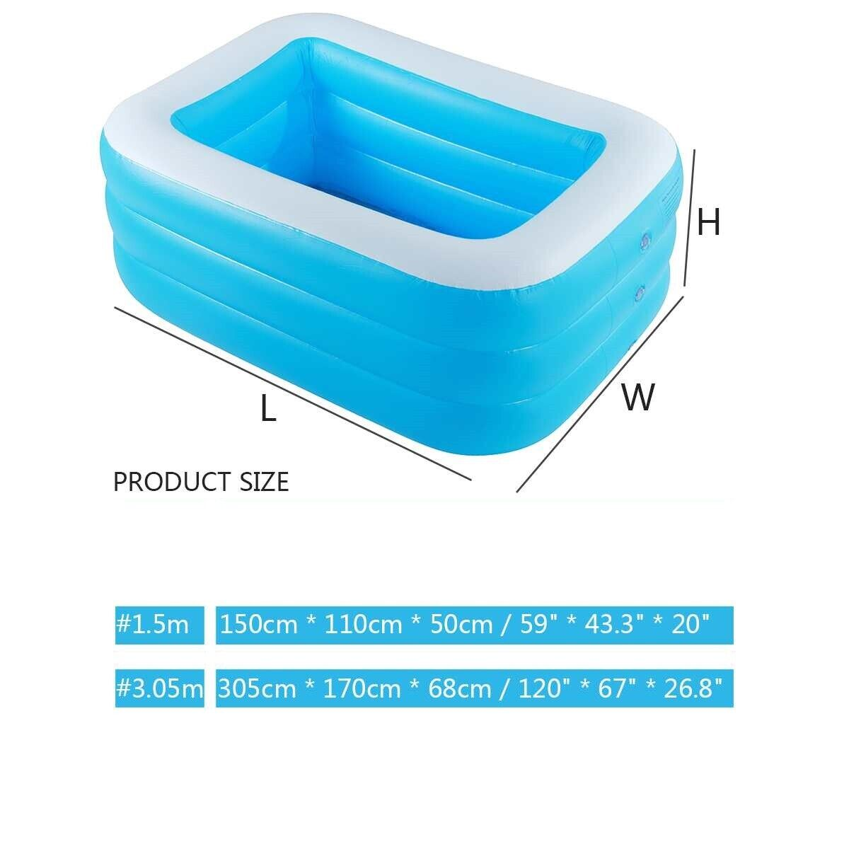 3Layer Square Inflatable Pool swimming Kid Adult Home Outdoor bathing pool