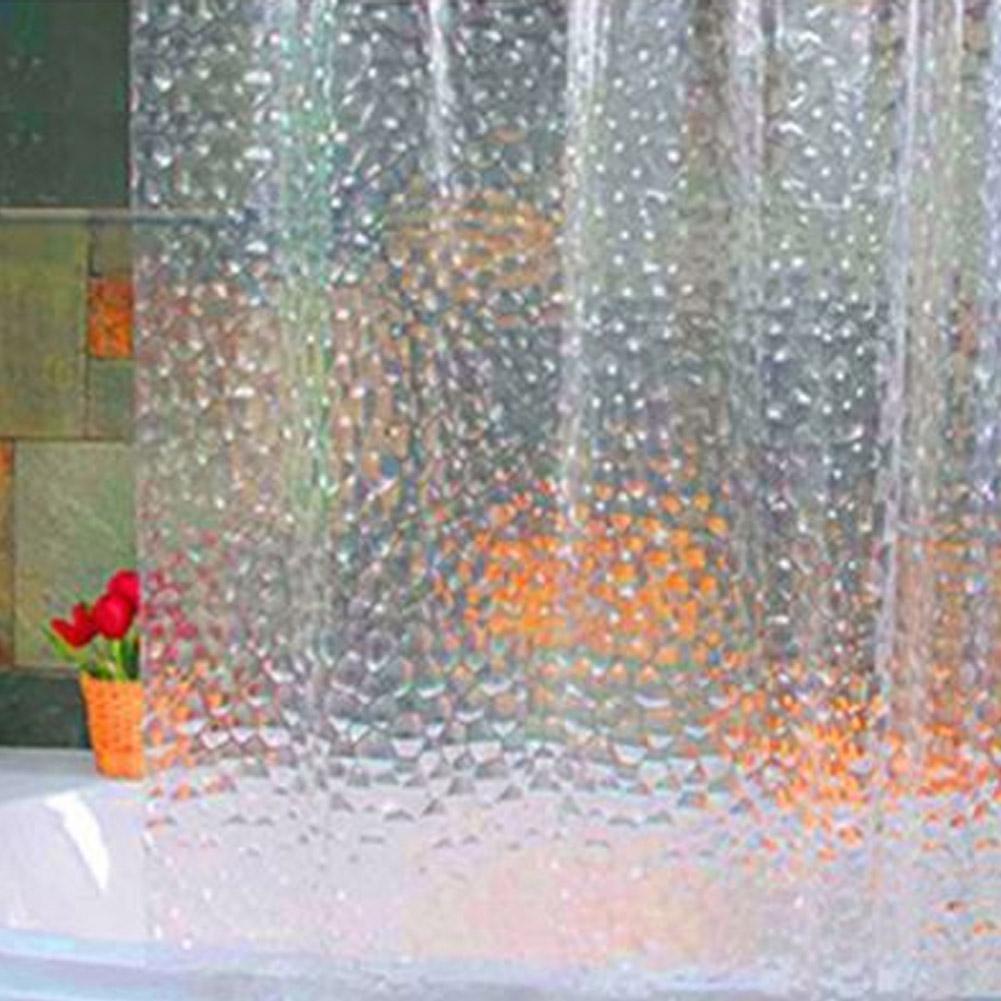 Hot PLASTIQUE Eva 3D Rideau Douche Clair Transparent Eau Cube Salle de Bain