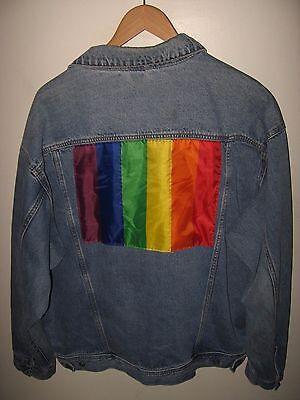 Gay Pride Jacket - Vintage 1990's Rainbow Flag LGBT Queer Blue Jean Denim Jacket