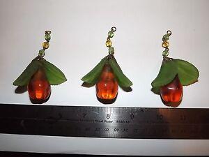 3 Vintage AMBER Chandelier Pear Fruit Prisms Glass/Crystal Drops leaf leaves