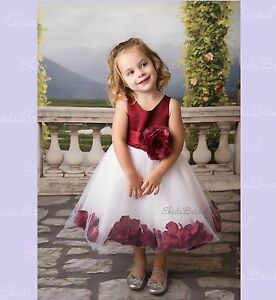 White Wedding Pageant Rose Petal Flower Girl Dress Toddler Pageant