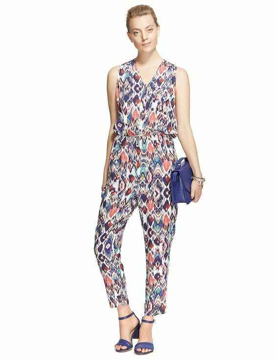 New M&S Collection Multicoloured Ikat Pattern Jumpsuit Sz