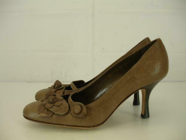 Femme 6 36 VALENTINO GARAVANI Italie en cuir taupe chaussures pompe talon haut fleurs