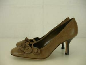 Womens-6-36-Valentino-Garavani-Italy-Taupe-Leather-Shoes-Pump-High-Heels-Flowers