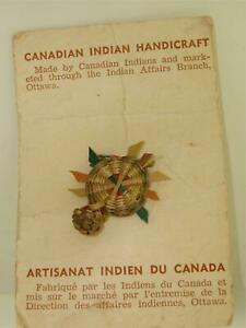 VINTAGE-1950-039-S-ERA-CANADIAN-INDIAN-HANDICRAFT-ORIGINAL-WEAVING-SOUVENIR-ON-CARD