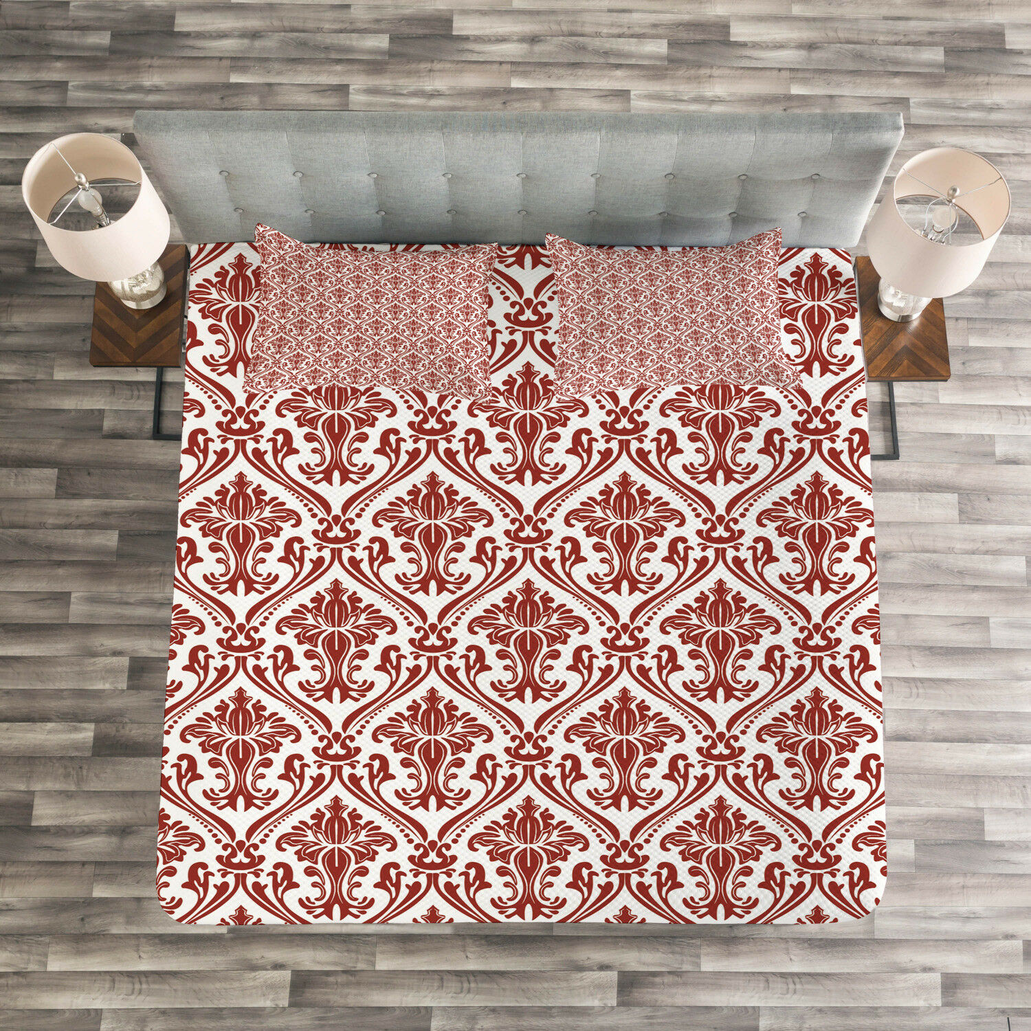 Damask Quilted Bedspread & Pillow Shams Set, Middle East Influences Print