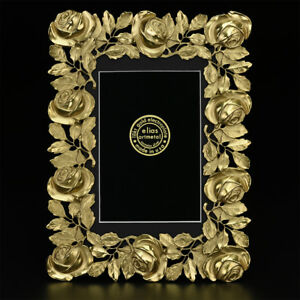 7530b47ebe7 Image is loading 3449gG-Gold-Rose-5x7-Picture-Frame-by-Elias-