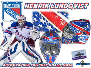 Henrik Lundqvist Signed New York Rangers Full Size Goalie Mask W Coa