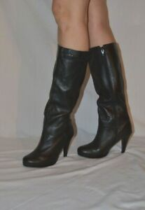 ladies black knee high boots real soft leather high heel