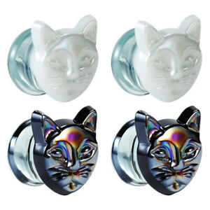 Glass-Cat-Design-Ear-Gauges-and-Body-Piercing-Jewelry-for-Woman-Ear-Plugs-2pcs