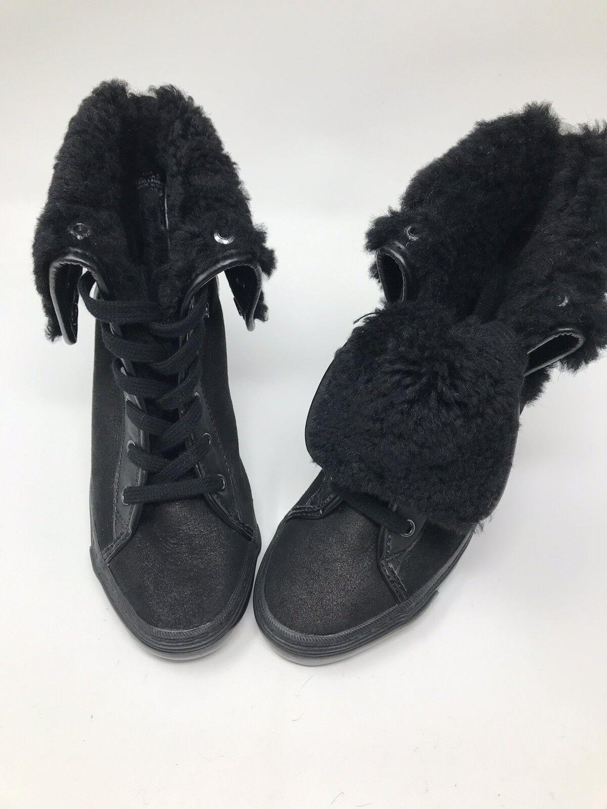 Negro Para Mujer De Invierno botas al tobillo con con con cordones Cuña duelo propósito Talla 7  003  diseños exclusivos