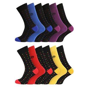 Mens 6 Pairs Soft Organic Bamboo Socks UK 7-11 EU 40-45 - Polka Dots Design