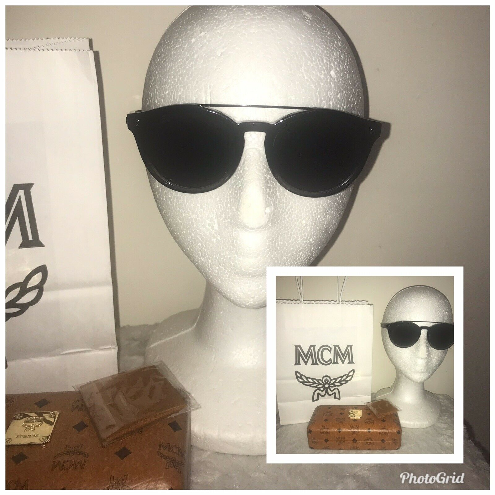 100% Authentic MCM Black Sunglasses With Case Dust Cloth Shopping Bag