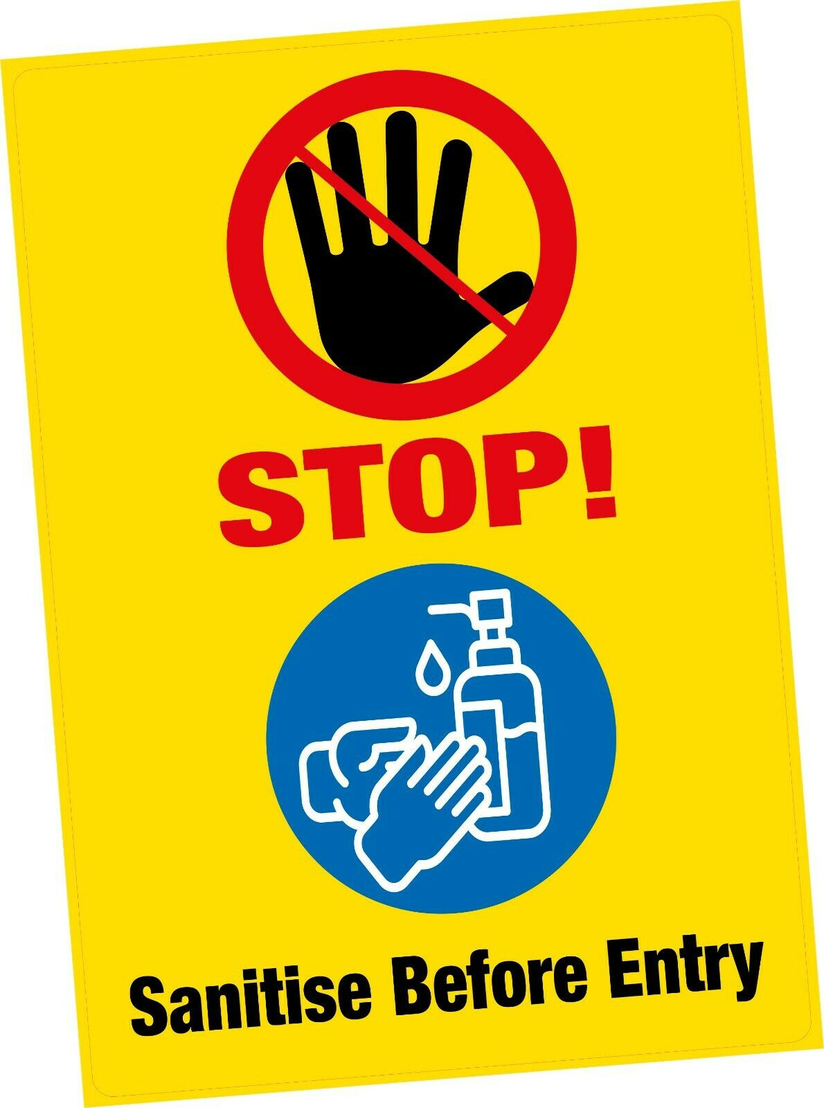 1x A5 STOP Sanitise Before Entry Safety Vinyl Sticker 6