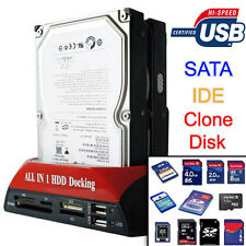 """IDE SATA PATA HD HDD DOCKING STATION MULTIMEDIALE 2,5"""" 3,5"""" USB SD TF MS MICR SD"""