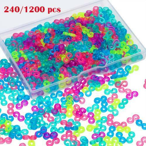 like S Clips C Clips for Plastic Chain Links Bracelet S-shine Clips for Raimbow Loom Rubber Band for DIY Bracelet Making Refill Kit Connectors 100pcs Clear S Clips