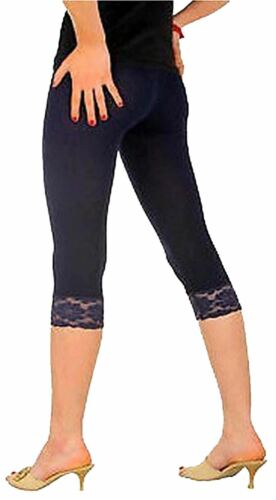 2191-Laced Elegance Cotton Cropped with Lace Trim Cotton Leggings