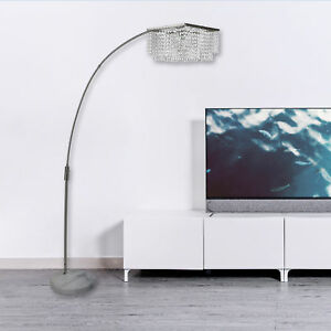 Adjustable Arching Floor Lamp Crystal Shade w/ White Natural Marble ...